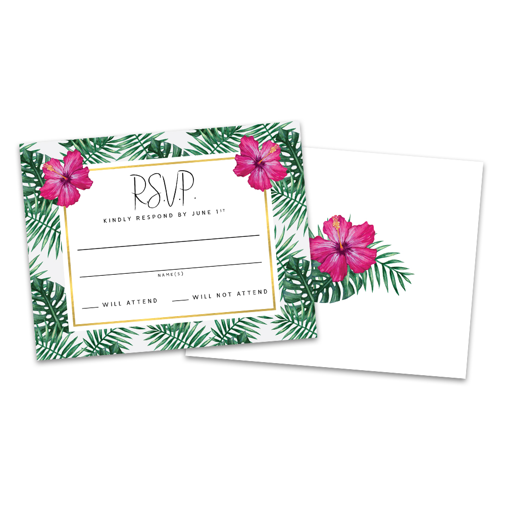 Personalized Palm Leaves Wedding Response Cards