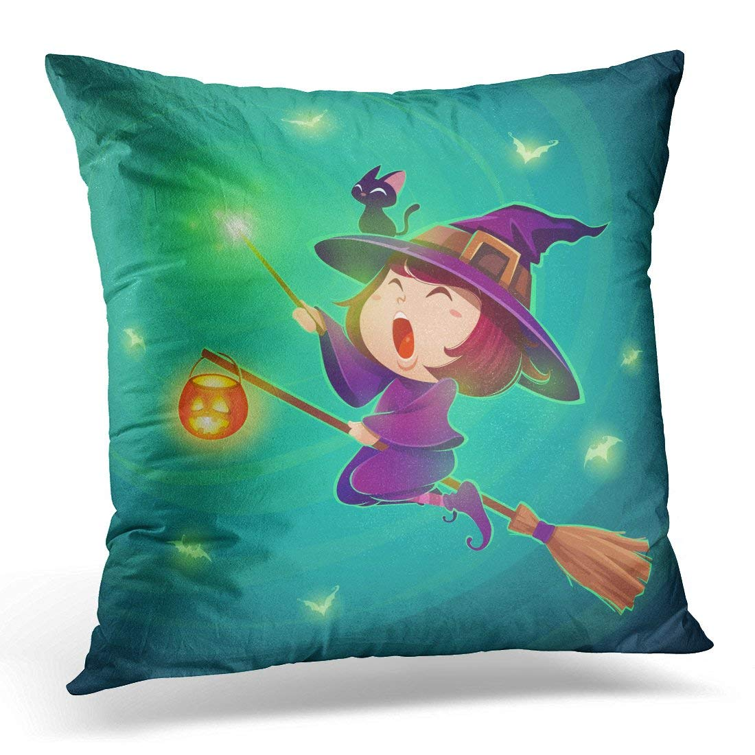 USART Black Halloween Flying Little Witch Girl Kid in Costume Holds Magic Wand Retro Vintage Turquoise Cute Pillow Case Pillow Cover 20x20 inch