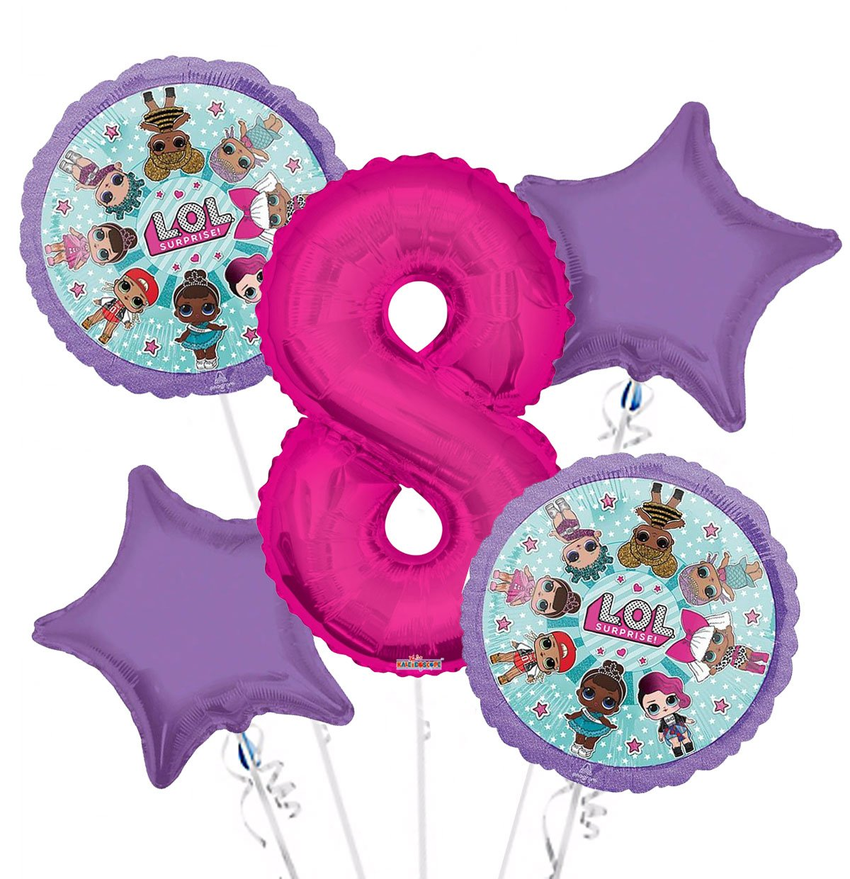 LOL Suprise Balloon Bouquet 8th Birthday 5 pcs - Party Supplies, 1 Giant Number 8 Balloon, 34in By Viva Party