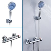 Wall Mount Thermostatic Shower Bar Mixer Valve 5 Function Shower Head 1.5m Hose