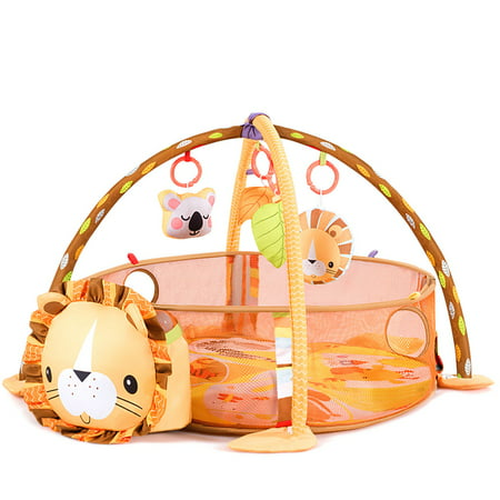 Costway 3 in 1 Cartoon Lion Baby Infant Activity Gym Play Mat w Hanging Toys Ocean (Best Baby Gym Mat)