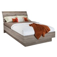 Pemberly Row Contemporary Sturdy Queen Platform Bed in Truffle | with Wood Slats and Headboard