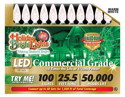 Holiday Bright Lights LEDBX-C6100-WW Christmas LED Light Set, C6, Commercial-Grade, Warm White, 100-Ct. by HOLIDAY BRIGHT LIGHTS