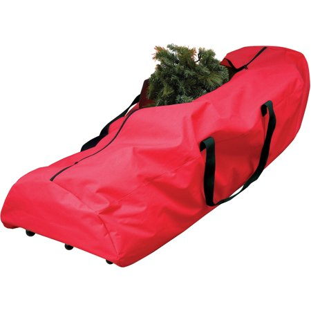 Holiday Time 7.5-Ft. Artificial Tree Rolling Storage Bag, Red with Black Handles and Wheels