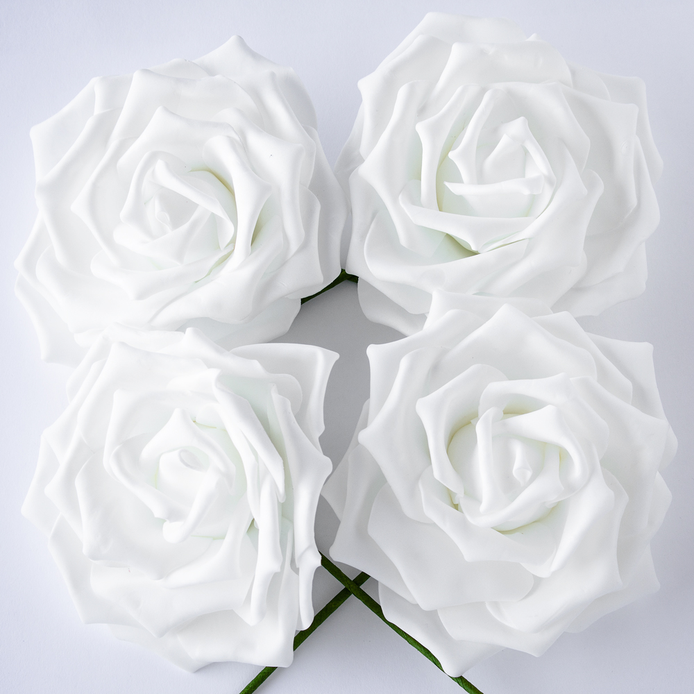 8-Inch White Garden Rose Foam Flower Backdrop Wall Decor, 3D Premade (4-PACK)