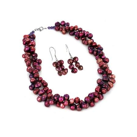 Purple Pearl Necklace Earring (Sterling Silver Purple Fresh Water Pearl Necklace and Earring)