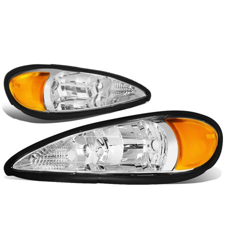 For 1999 to 2005 Pontiac Grand Am Pair OE Style Headlight Chrome Housing Amber Side Headlamps 00 01 02 03 04 (Pontiac Grand Am For Sale By Owner)
