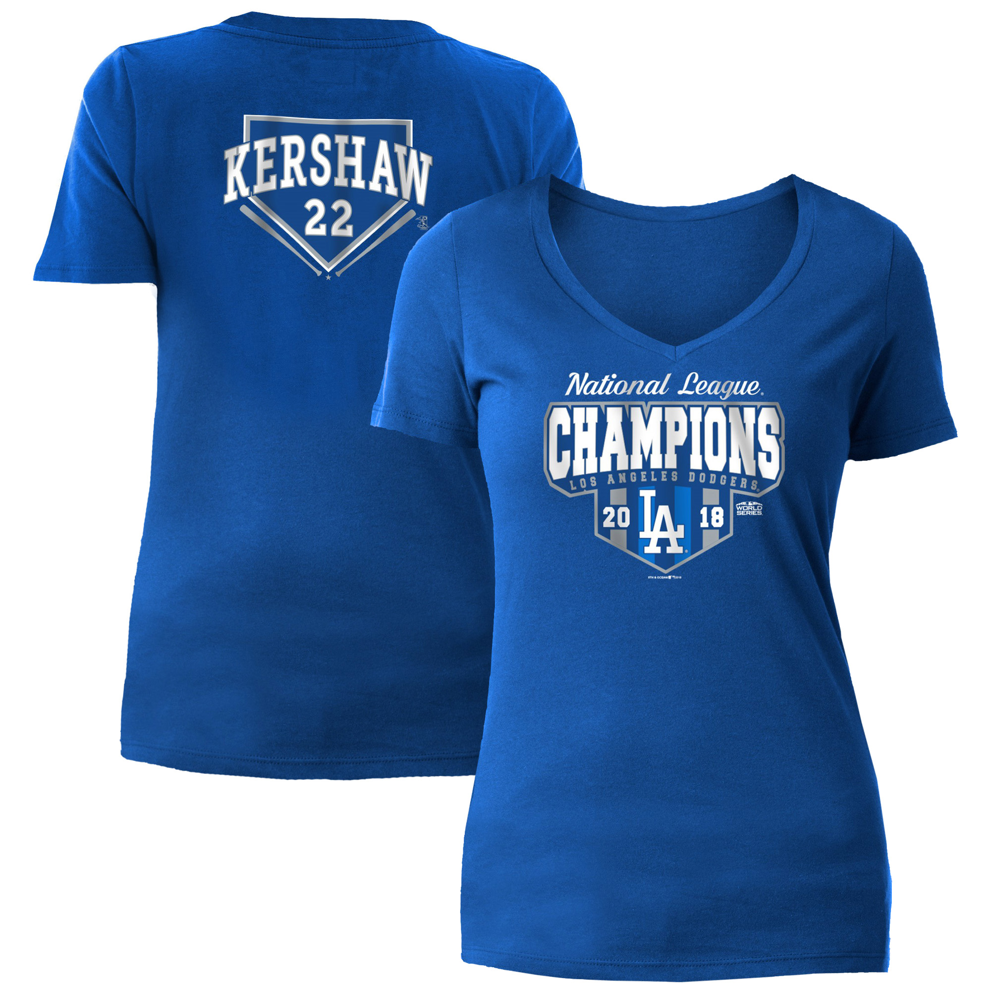 Clayton Kershaw Los Angeles Dodgers 5th & Ocean by New Era Women's 2018 National League Champions Player T-Shirt - Royal