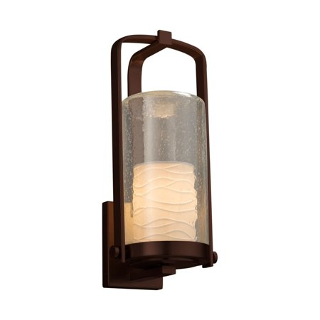 Justice Design  Group Limoges Atlantic 1-light Dark Bronze Outdoor Wall Sconce, Cylinder - Flat Rim Shade, Waves Shade