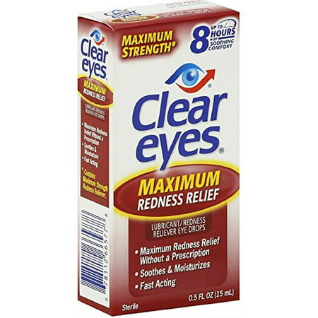 - Clear Eyes Maximum Strength Redness Relief - #1 Selling Brand of Eye Drops - Relieves Dryness, Burning, and Irritations