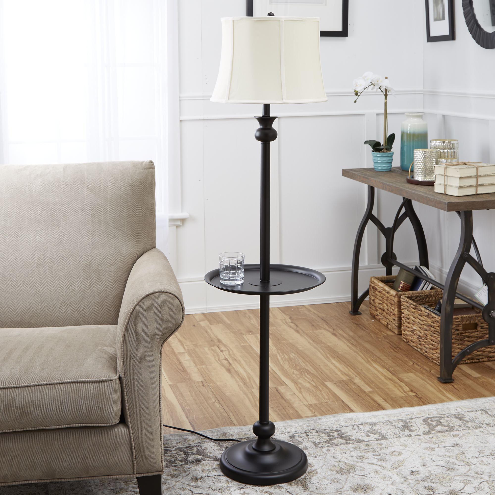 Better Homes and Gardens Black Floor Lamp with Tray, CFL Bulb Included