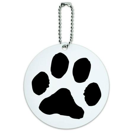 Paw Print Pet Dog Cat Round ID Card Luggage Tag