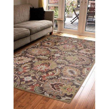 Rugsotic Carpets Hand Tufted Wool 5'x8' Area Rug Floral Brown K00540 Brown Striped Wool Rug