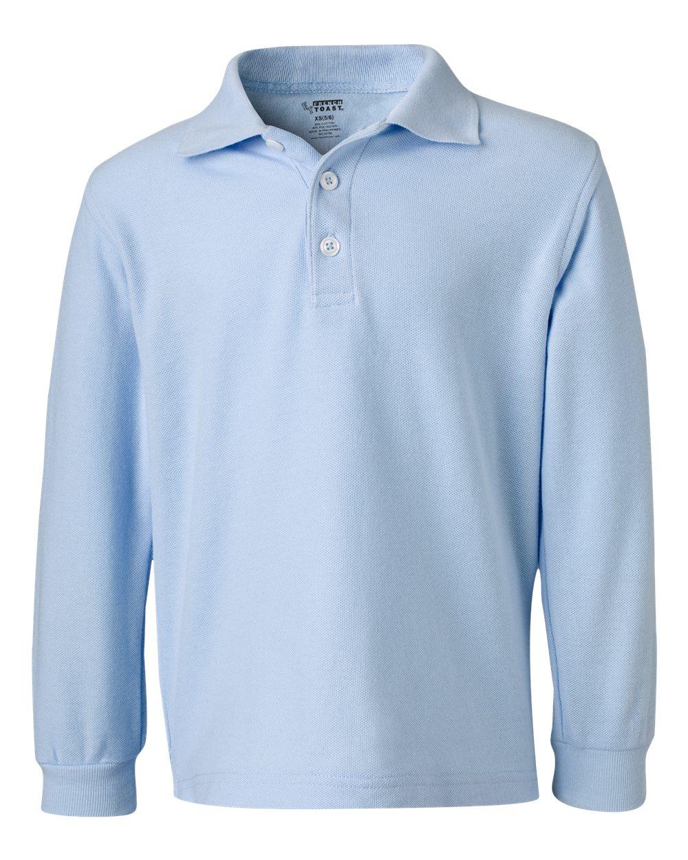 French Toast School Uniform Boys Long Sleeve Pique Polo Shirt. A9085
