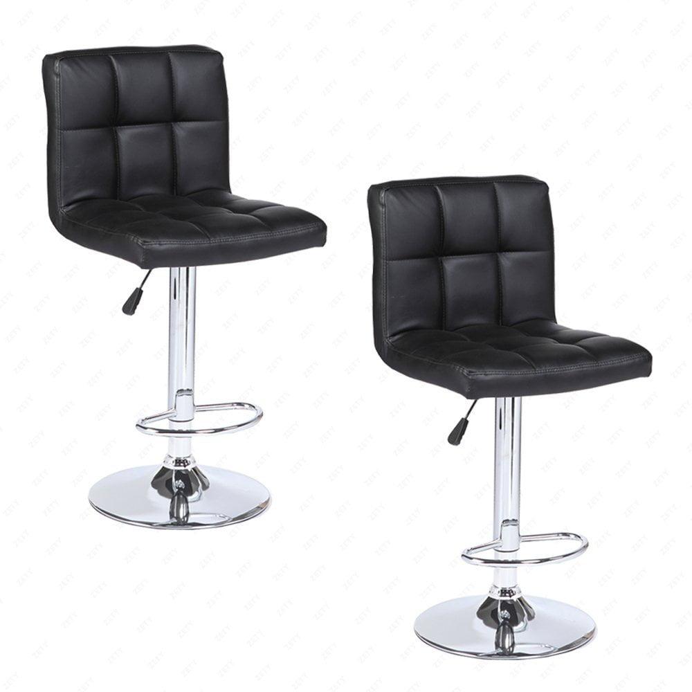 2PCS Black Mordern Leather Adjustable Bar Stools Swivel Pub Chair by