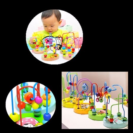 Bead Maze Activity  Wooden Toy for Babies, Toddlers - Small Wood Roller Coaster Sliding Beaded Balls On Sturdy Wire Frames w/ Suction Cups - Classic First Developmental Toy
