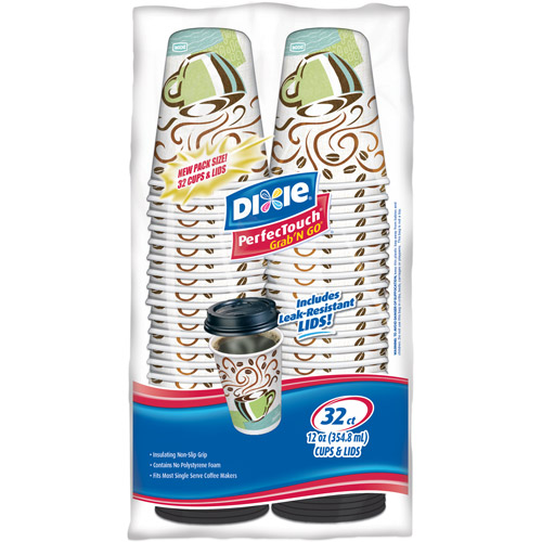Dixie PerfecTouch Grab 'n Go Cups & Lids, 12oz, 32 count