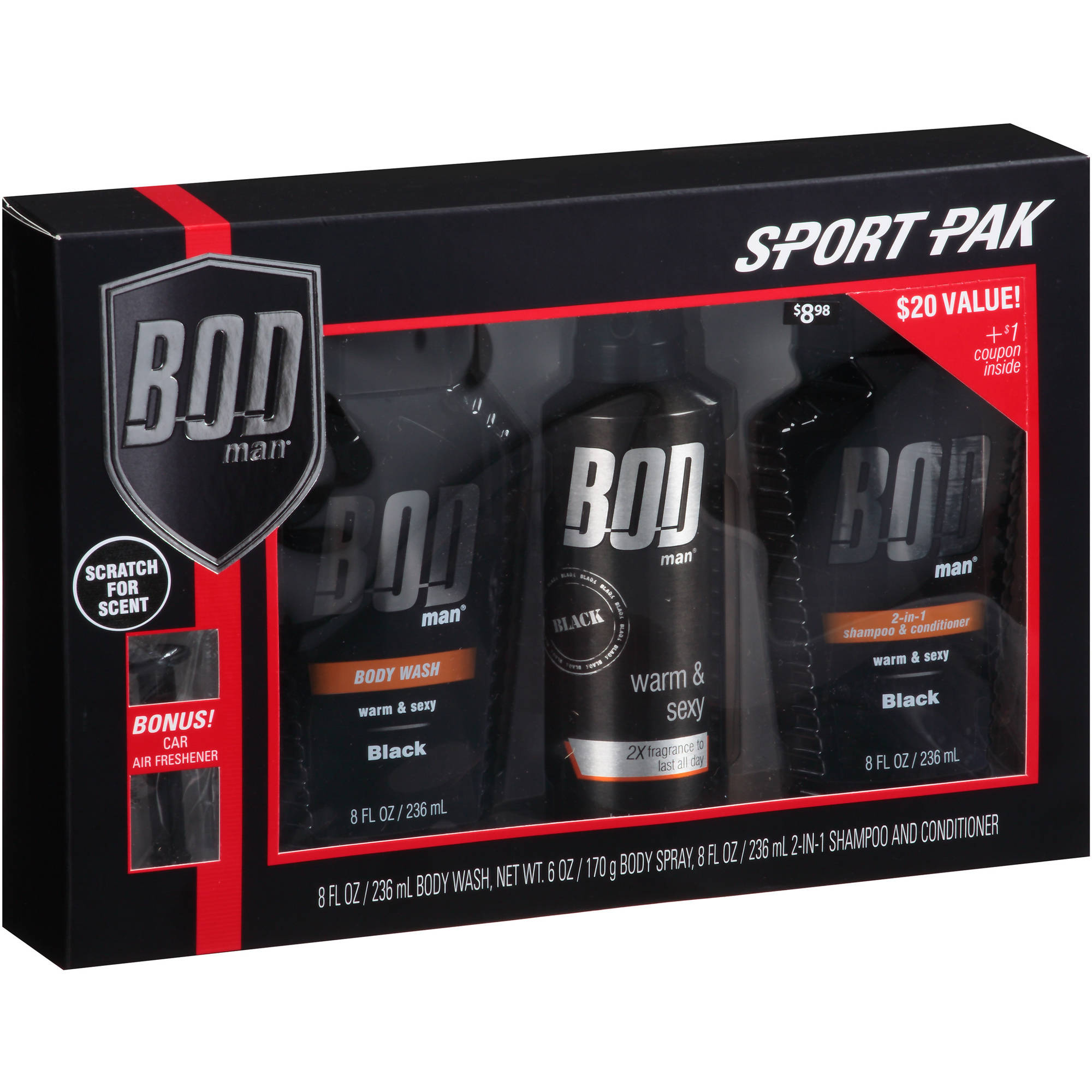 Bod Man Sport Pak, Black, 3 pc