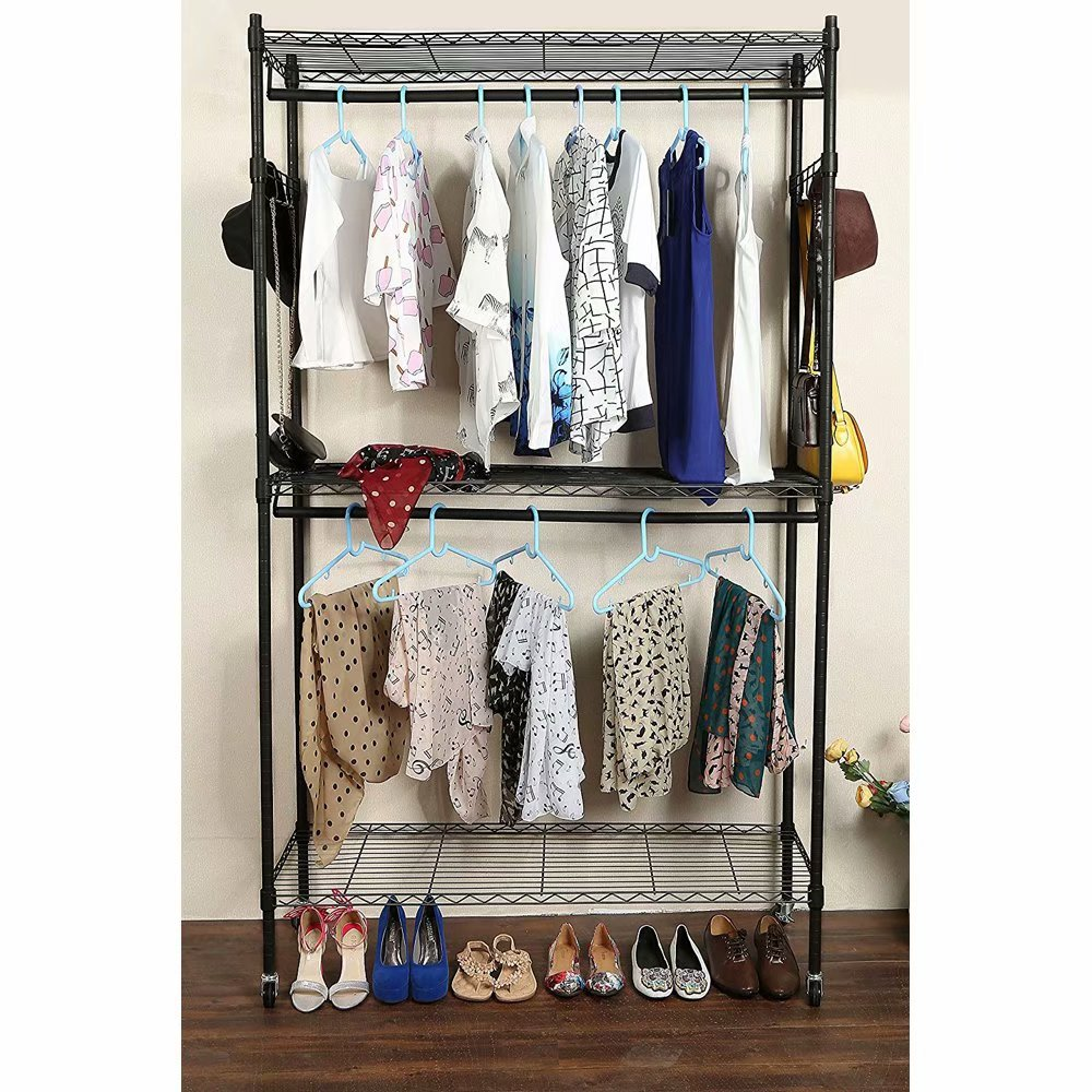 Akoyovwerve 2Tier Rod Closet Organizer Garment Rack Clothes Storage Hanger Shelf Hooks Black