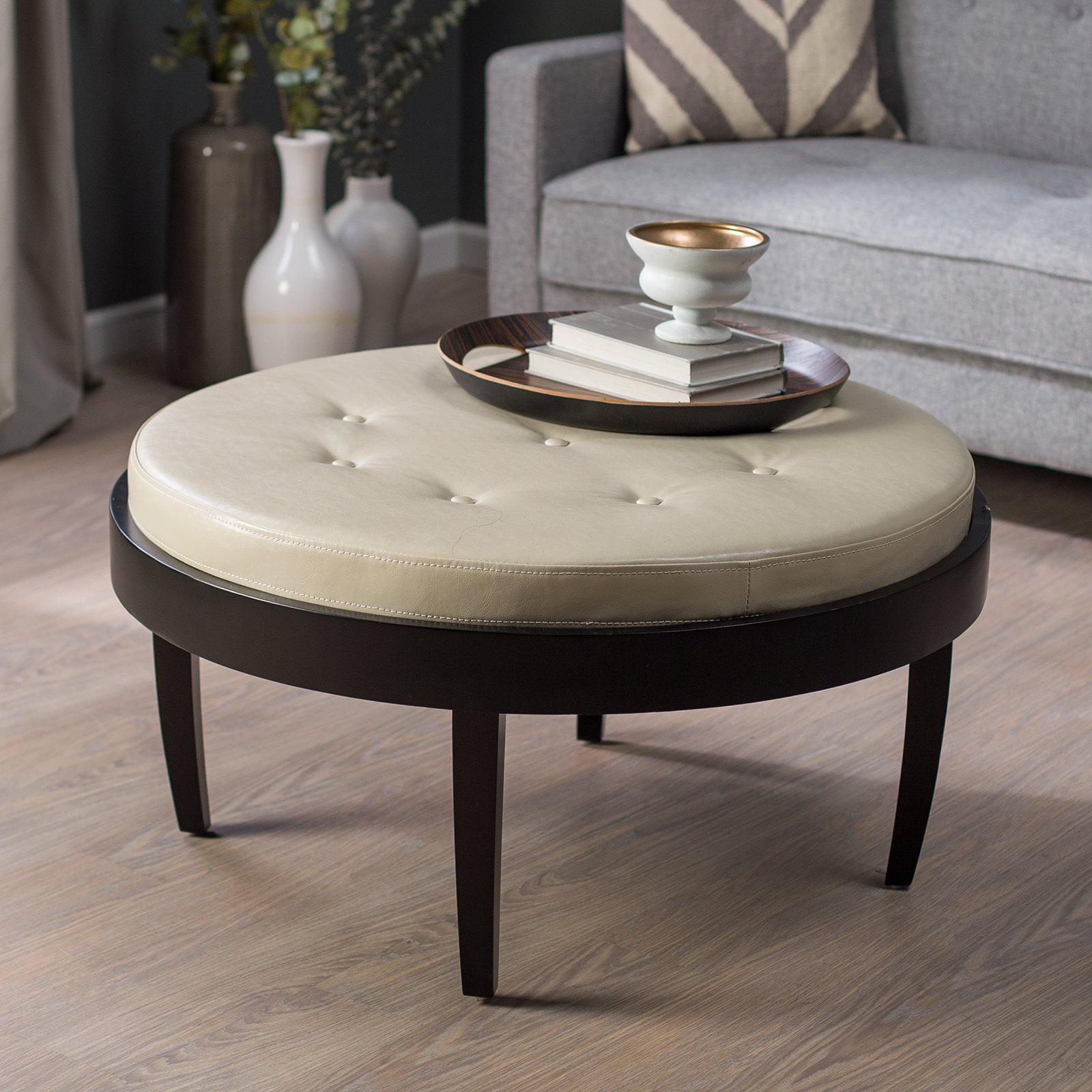 Citation Espresso Coffee Table Ottoman Cream Cushion   Walmart.com