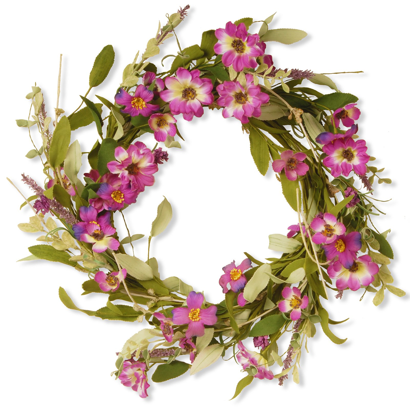"National Tree Artificial 20"" Garden Accents Purple Daisy Wreath"