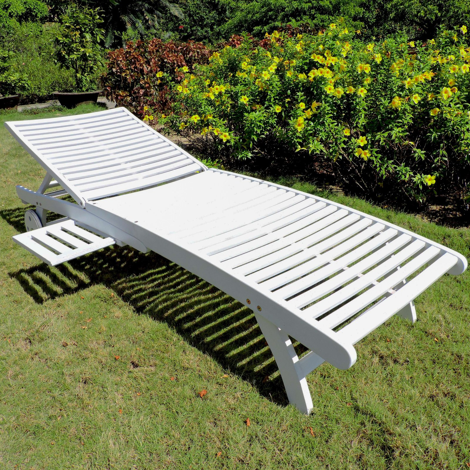 Chelsea Acacia Outdoor Chaise Lounge with Sliding Tray