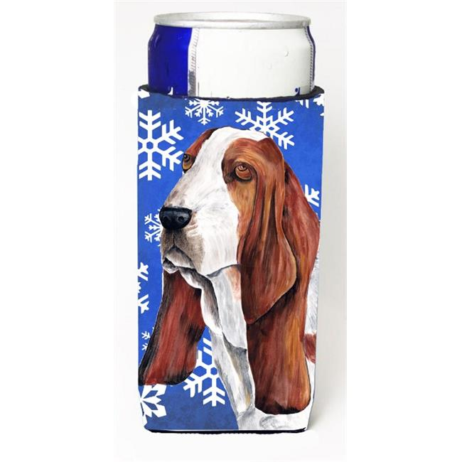 Carolines Treasures SC9372MUK Basset Hound Winter Snowflakes Holiday Michelob Ultra bottle sleeves For Slim Cans - 12 oz. - image 1 of 1