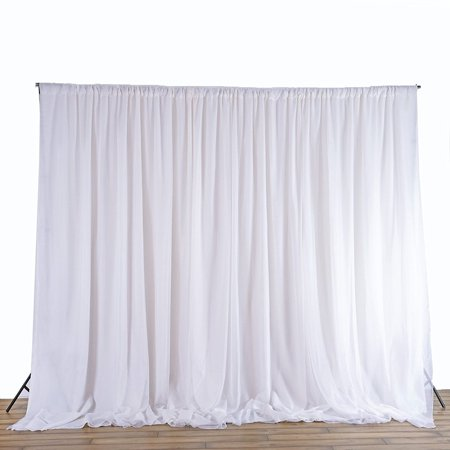 2.4M White Fabric Backdrop Drapes Curtains - Wedding Ceremony Event Party Photo Booth Home Windows (Wedding Backdrop Drapes)