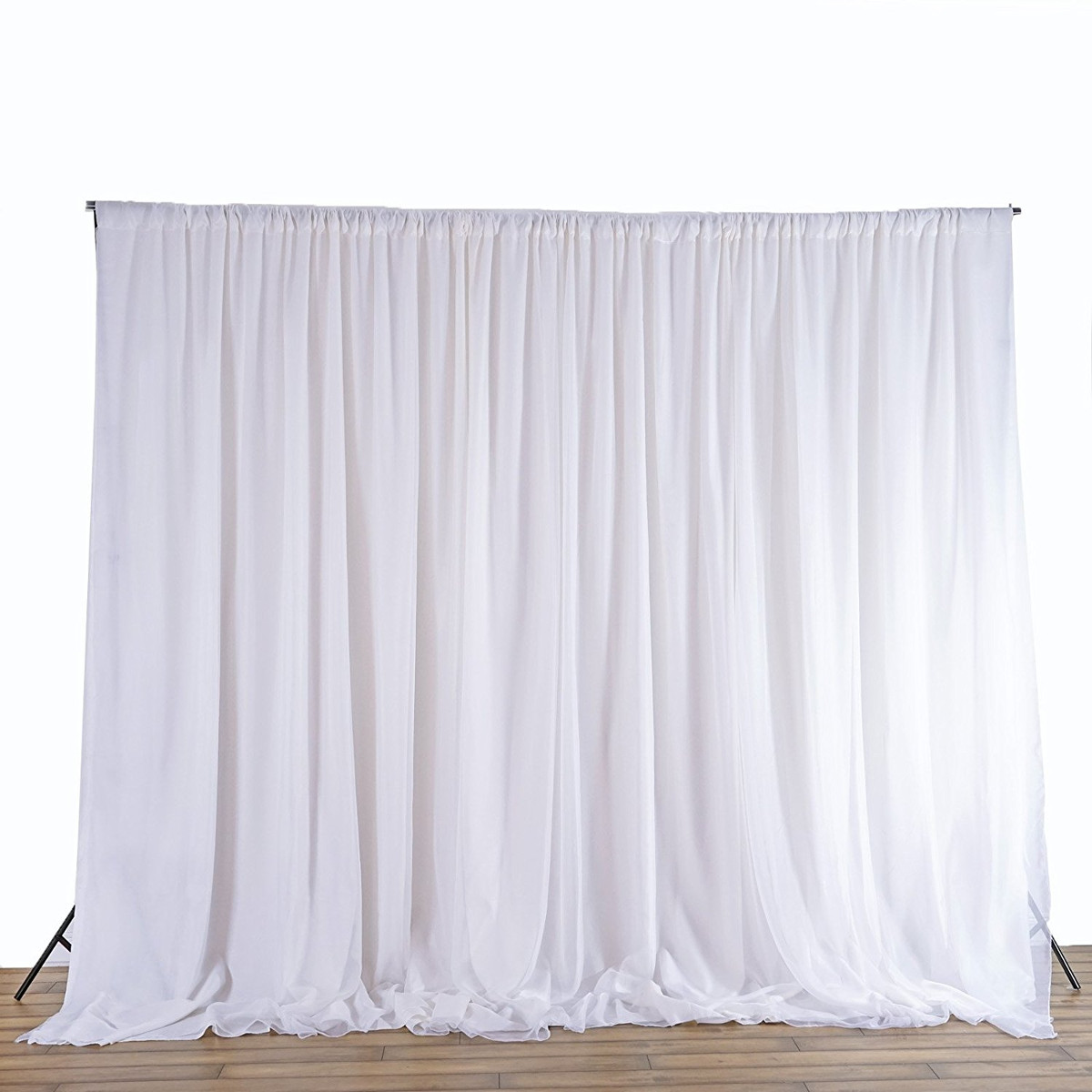 2.4M White Fabric Backdrop Drapes Curtains - Wedding Ceremony Event Party Photo Booth Home Windows