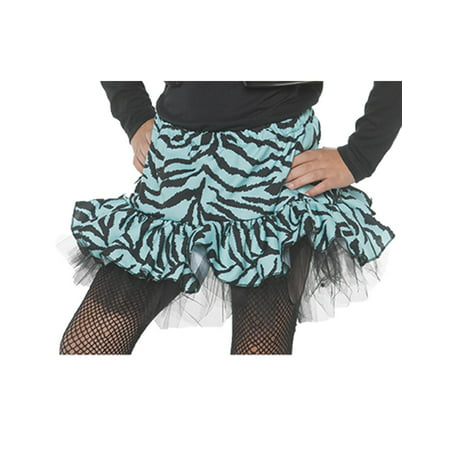 80S Zebra Girls Child Blue Diva Dance Rocker Costume Skirt for $<!---->