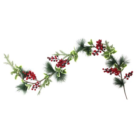 Northlight Berry Holly Leaves and Pine Needles 5 ft. Unlit Garland