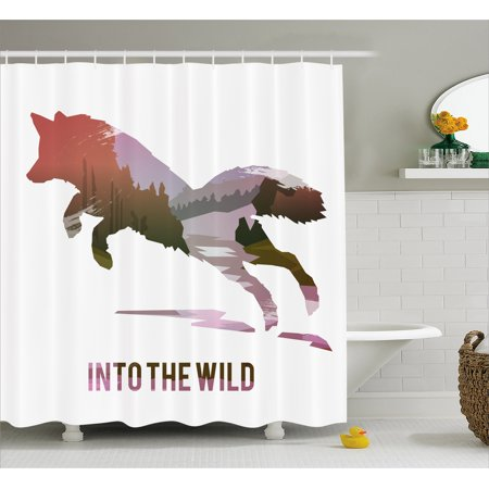 Fox Shower Curtain Jumping Silhouette With Woodland Wilderness Hunting Design Survival Theme Fabric Bathroom Set Hooks Lavender Brown Coral