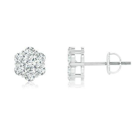 April Birthstone - Pressure-Set Diamond Cluster Stud Earrings in 14K White Gold (2.5mm Diamond) - SE1365D-WG-GVS2-2.5