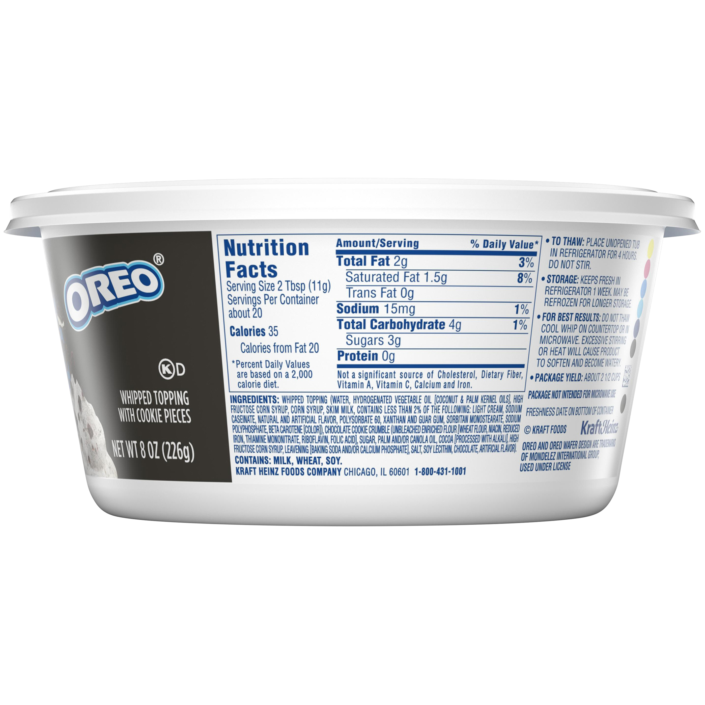 Cool Whip Mix Ins Oreo Cookie Whipped Topping 8 Oz Tub Walmart Com