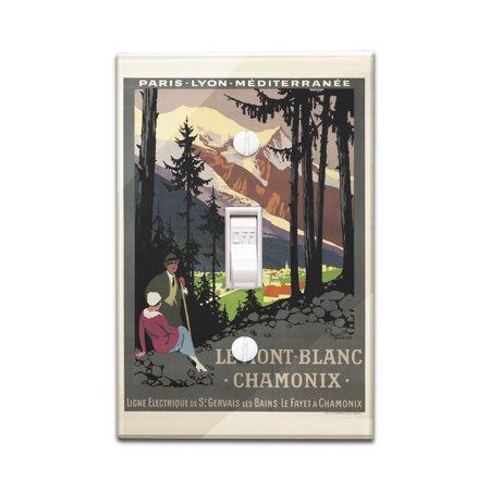 Le Mont - Blanc - Chamonix Vintage Poster (artist: Broders, Roger) France c. 1924 (Light Switchplate Cover)
