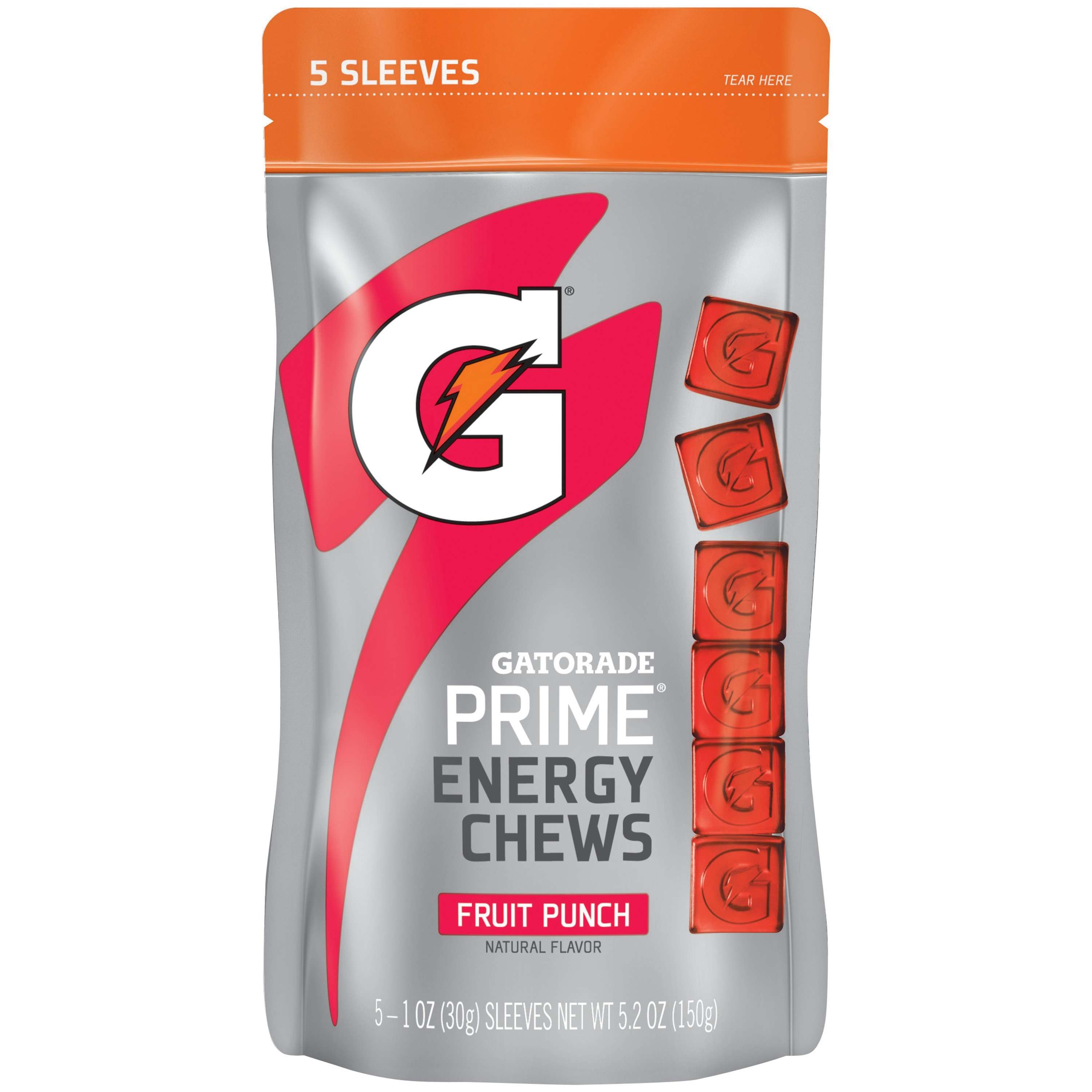 Gatorade Prime Energy Chews, Fruit Punch, 5 Pack, 5 Ct