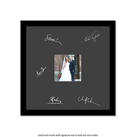 CreativePF [5x5-15x15bk-w] Signature Frame - Photo Frame with Black Mat Holds 5x5-inch Media Including Installed Wall - Signature Photo Frame