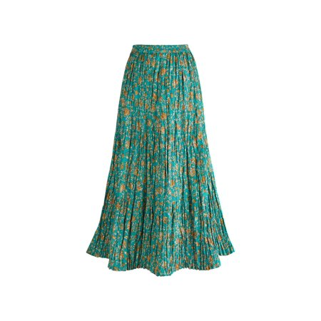 Reversible Wrap Skirt (women's peasant skirt - traveler's reversible long cotton green skirt - xl)