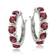 Sterling Silver 2.60ct TGW Created Ruby S Design Hoop Earrings