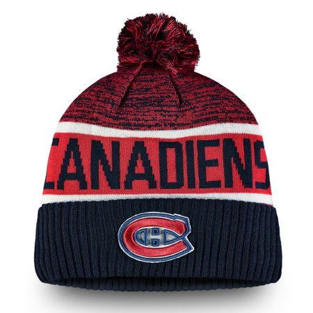 Montreal Canadiens Fanatics Branded Authentic Pro Rinkside Goalie Cuffed Knit Hat With Pom - Navy - OSFA