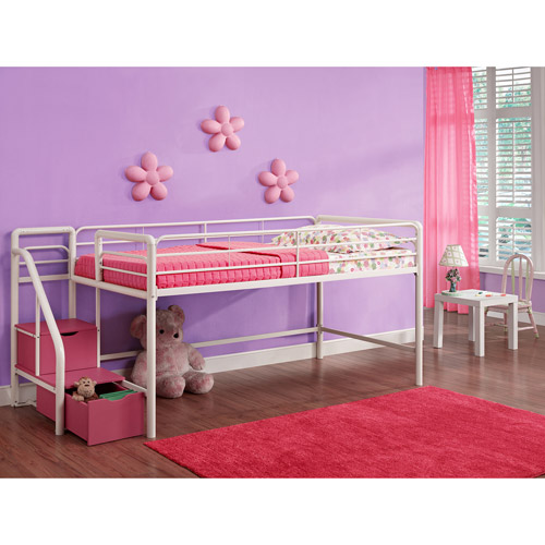 Junior Twin Loft Bed with Storage Steps, Pink and White