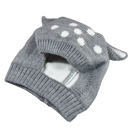 Winter Deer Knit Baby Hat with Ears Cartoon Infant Baby Plush Lining Kids Cap