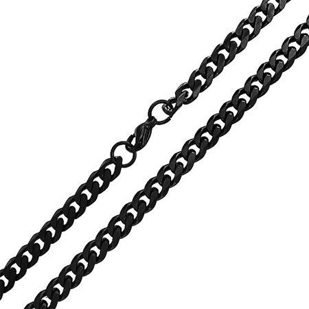 Black Chains (Medium Stainless Steel Mens Curb Black Cuban Chain)