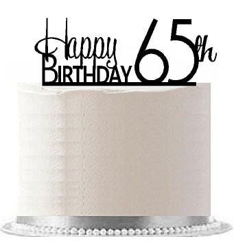 Item#AE-169 Happy 65th Birthday Agemilestone Elegant Cake Topper