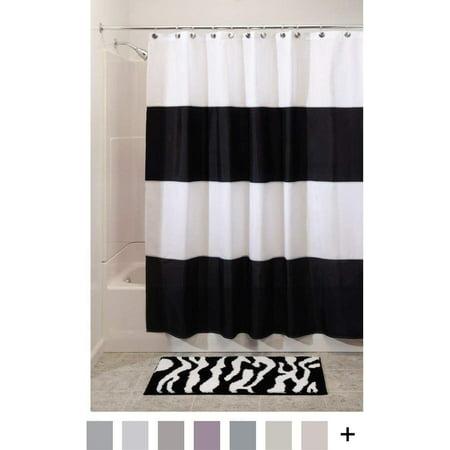 InterDesign Zeno Water Repellent Shower Curtain Modern Black White Stripes 72 X Mold Mildew Resistant