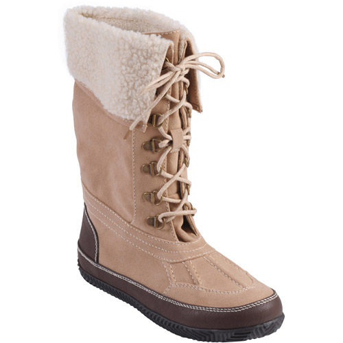 Brinley Co Women's Plush Trim Lace-up Winter Boots