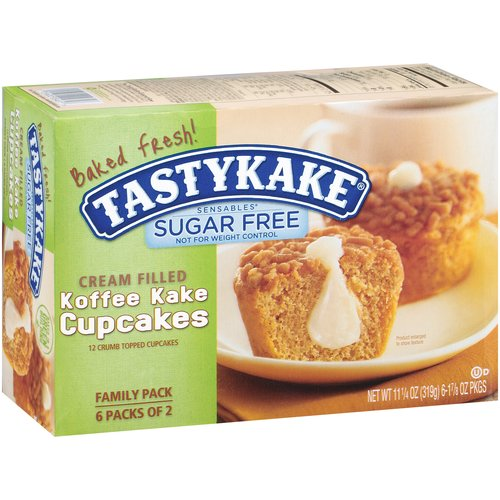 Tastykake Sensables Sugar Free Cream Filled Koffee Kake Cupcakes, 6 count, 11.25 oz