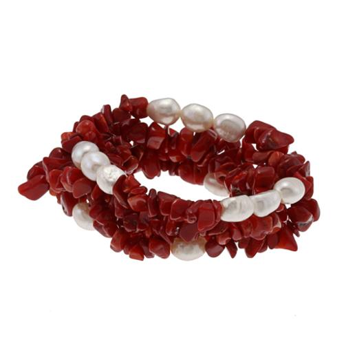 DaVonna White Baroque FW Pearls and Red Coral 5 Stretch Bracelets Set (7-8 mm) by Overstock