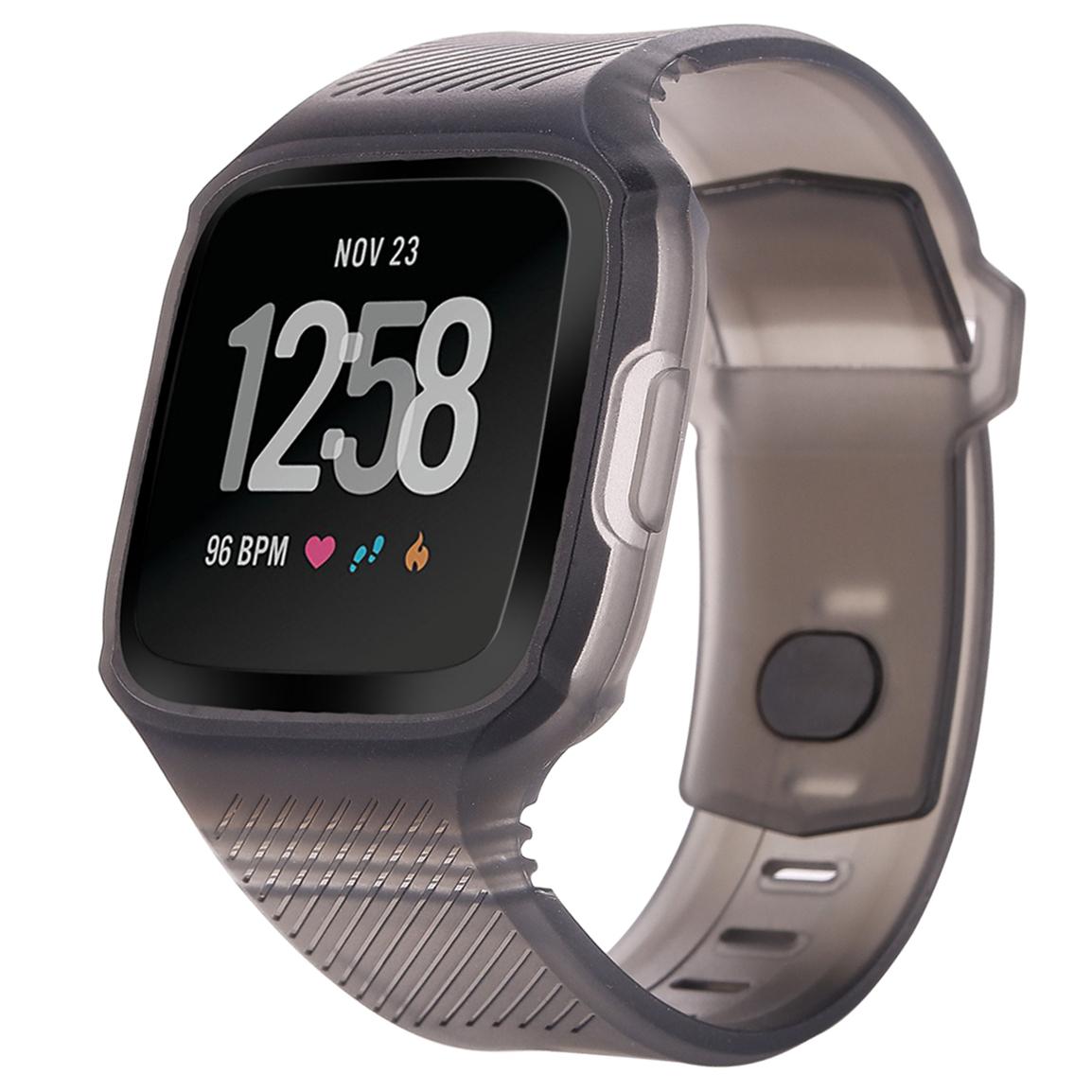 Moretek Strap for Fitbit Versa Scratch Resistant TPU Protective Frame Case Band Replacement Wristband Straps for Fitbit Versa Health Fitness Smartwatch Protect Bracelet Bands (Black)