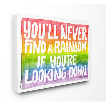 The Kids Room by Stupell Find A Rainbow Watercolor Typography Stretched Canvas Wall Art, 16 x 1.5 x 20